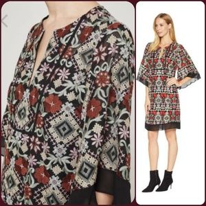BCBG MAXAZRIA Tati Embroidered boho hippie dress